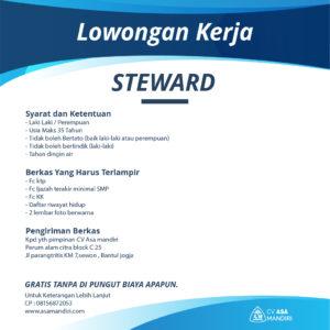 LOWONGAN KERJA – STEWARD